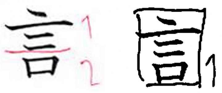 図2: 同じ学習者の「言」の分解例(左:1回目、右:2回目)